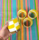 Vintage 60s Georges Briard Set Of 4 Glasses Yellow Colorblock MId Century Modern
