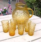 VINTAGE AMBER GOLD ROUND ANCHOR HOCKING PITCHER WITH 6 GLASSES/TUMBLERS