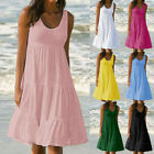 US Womens Holiday Summer Solid Sleeveless Party Beach Loose Dress Sundress Lot