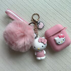 Cute Hello Kitty PomPom Fur Ball Strap Shockproof Case Cover for Airpods Keyring