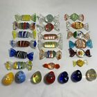 25 Pc Lot Murano Glass Blow Striped Wrapped Candy Candies And Small Quail Eggs