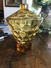 Vintage Mid Century Amber Glass Candy Dish, Dimpled With Lid Geometric