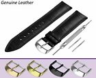 Fits FORTIS Black Genuine Leather Watch Strap Band For Buckle Clasp 12-24mm