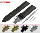 Band For FORTIS Watch DARK BROWN Genuine Leather Strap For Clasp Buckle 12-24mm