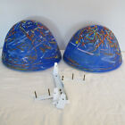 Pair of Vetri Murano Blown Art Glass Sconces with Brackets Blue