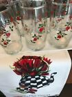 Set Of 6 Vintage Retro Drinking Glasses, Red Roses Flowers 12 Ounces, Pristine