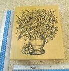 VASE OF DAISIES AND CATTAILS MW RUBBER STAMP NORTHWOODS RUBBER STAMPS