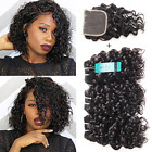 Malaysian Water Wave Bundles with Closure Ocean Wave Wet  Wavy Human Hair with