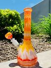 Hookah Water Pipe Heavy Glass 10 Orange White Designer Tobacco Beaker Bong