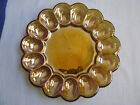Indiana Glass Amber Carnival Hobnail 1000 Eye Deviled Egg Plate Oyster Dish Xmas
