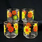 Set of 4 Vintage Flower Power Glasses