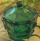 Vintage*Indiana Glass *Emerald* OCTAGONAL Covered Jar~Candy Dish 5 1/2