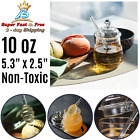 Honey Jar Lid Glass Heat Resistant Beehive Honey Syrup Pot With Dipper 10 Oz New