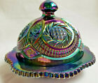 Carnival Glass Iridescent Amethyst Purple Covered Butter Dish Plate 5 Tall