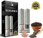 Electric Salt and Pepper Grinder Set Battery Operated Stainless Steel with Light