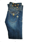 MISS ME 27 Low Rise Gold Bling Bootcut Vintage Wash Jeans