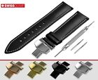 Fits JUNGHANS Flat Black Genuine Leather Watch Strap Band For Clasp Buckle Pins
