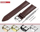 Fits BURBERRY Flat Dark Brown Genuine Leather Watch Strap Band For Buckle Clasp