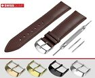 Fits PATEK PHILIPPE Flat Dark Brown Genuine Leather Watch Strap Band For Buckle