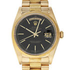 Rolex 18038 6.7 Million Serial DayDate 36mm Single Quick Black Stick Yellow Gold