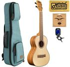 Kala KA FMTG Spruce Top Flame Maple Tenor Ukulele w Blue Sonoma Case Bundle