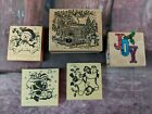 CHRISTMAS Holiday Rubber Stamps Foam Stamps Lot of 5