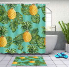 Pinapples and Tropical Leaves Monstera Fabric Shower Curtain Set Bathroom Decor