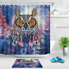 Abstract Vintage Background Owl Pattern Fabric Shower Curtain Set Bathroom Decor