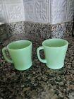 2 VTG JADEITE GREEN FIRE KING OVEN WARE D HANDLE COFFEE CUPS MUGS