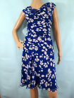 CHAPS Cobalt Blue  White Floral Sleeveless Fit  Flare Dress Size 10