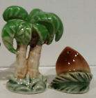 Nicely Colored Palm Tree and Large Cocnut Salt and Pepper Shakers