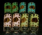 8 FRED PRESS Assorted Colors ATOMIC STARBURST Glass Glasses Tumbler Gold Eclipse