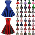 Women's Vintage Swing Skater Midi Dress Rockabilly Evening Party Cocktail Gowns