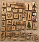 Rubber Stamp Lot Of 47 Halloween Birthdays Xmas Bunnys Roses And More