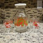 VINTAGE ANCHOR HOCKING STRAWBERRY SHORTCAKE CARAFE AND JUICE GLASSES