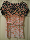 New York  Company Stretch Pink Black  White Floral Top w Pink Belt Size S