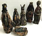 Christmas Nativity Hand Crafted Birth of Jesus Manger Paper Mache 6 pieces