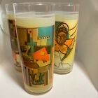 Mid-Century Vintage ~ Abstract Cubism Art Paintings Highball Glasses [4] - 1960s