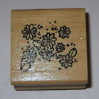 Flowers Rubber Stamp Daisy Hooks Lines  Inkers Retired Wood Mounted