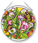 Calla Lilies Monarch BUTTERFLIES Sun Catcher Hand Painted 6 1 2 Round AMIA New