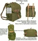 Vintage New Old Stock Romanian Army Canvas Backpack W Leather Shoulder Straps