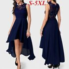 Womens Sleeveless Lace Elegant Dress Slim Party High Low Long Dress Plus Size