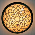 Vintage Tiffany Ceiling Lamp Stained Glass Chandelier Lighting Fixture 3 light