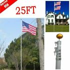 PERFECT 25FT Aluminum telescopic flagpole Kit Outdoor Gold Ball