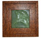 Door Pottery Matte Green Double Gingko Ceramic Framed Tile
