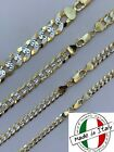 Cuban Link Chain 14k Gold  Solid 925 Silver Two Tone Diamond Cut ITALY 5 11mm