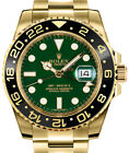 Rolex GMT-Master II 18k Yellow Gold & Ceramic Green Dial Watch & Box 116718