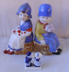 Vintage c1950 Dutch boy  girl Made in Japan figurines + one extra Delft item