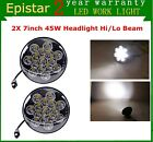 2X 7inch Headlight 45W LED Light Clear Sealed Hi Lo Beam Round for Jeep Wrangler