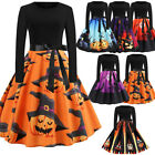 Women Long Sleeve Halloween Party New Musical Notes Print Vintage Flare Dress Ne